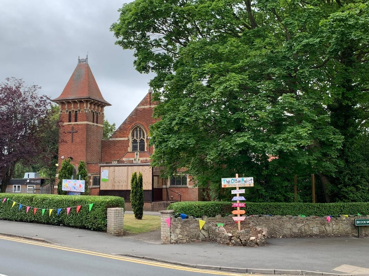 Image of The Olton Project from outside, during the Summer Fair.