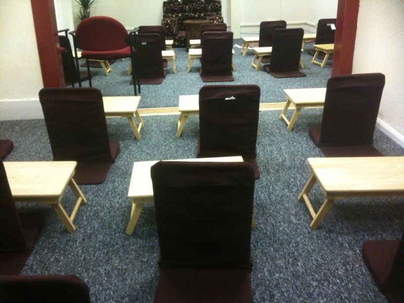 Chairs set up for class in our old premises
