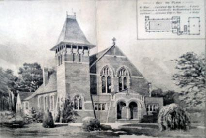 An old artist's impression of the building, complete with map.